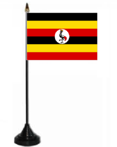 Uganda Desk / Table Flag with plastic stand and base.